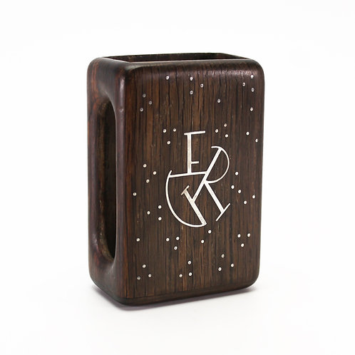 Frantz Hingelberg Bog Oak Match Box Cover Silver Inlay monogram art deco danish mid-century design dark wood vesta case ERG