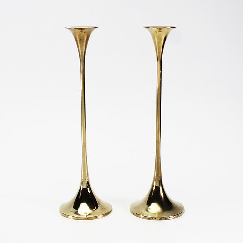 swedish mid-century modern design brass candleholders candlesticks Gnosjö gnosjo trumpet taper candle holder small minimalist