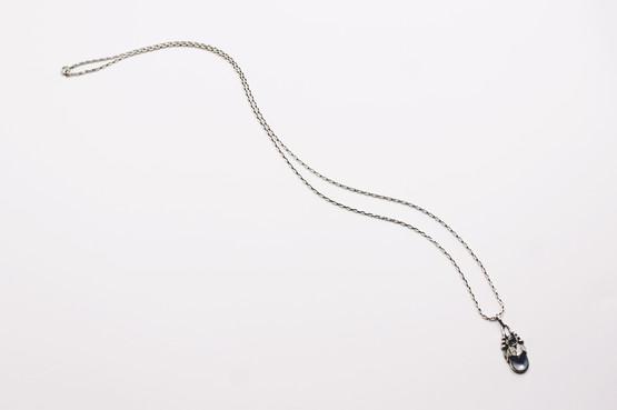 danish antique art nouveau skønvirke moonstone necklace pendant flowerbud organic nature ethereal blue silver georg jensen