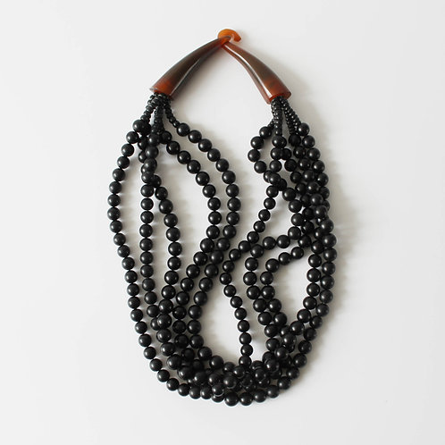 Monies Necklace Black Carved Buffalo Horn Beads Multi Strand Gerda Lynggaard Hook Claw Closing