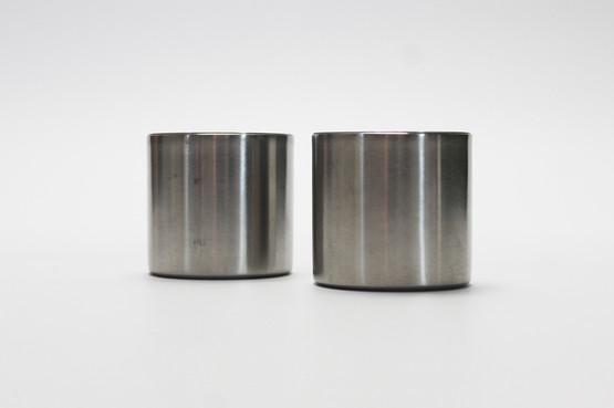 stelton cylinda line candle holders stainless steel arne jacobsen danish mid-century modern design cylindrical minimalist