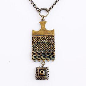 Finnish Scandinavian Tribal Style Bronze Necklace by Pentti Sarpaneva