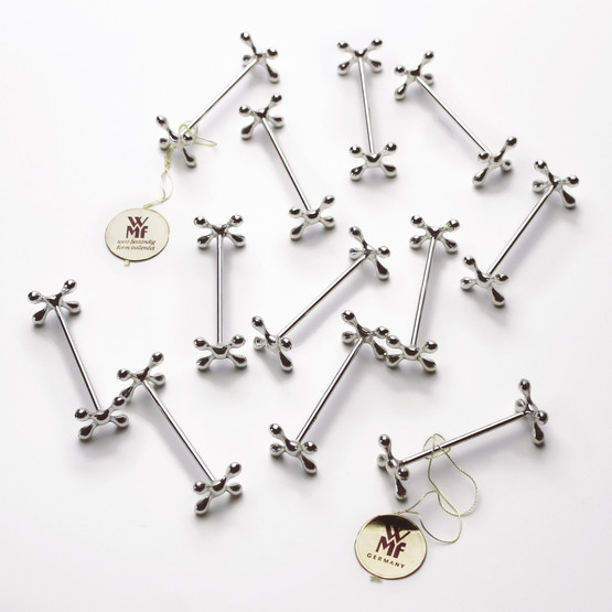 wmf silverplated brass knife rests jacks stands x cross boules germany table setting decor formal holiday christmas in box