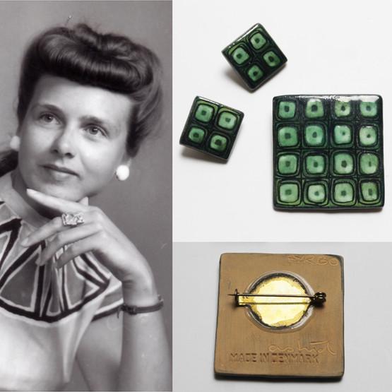 astrid tjalk danish design vintage ceramic handmade enamelled enamel jewellery brooch earrings women modernist green fyrbo