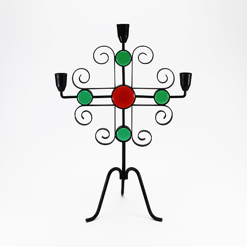 swedish wrought iron candleholder black metal ystad-metall gunner ander curls three arm candelabra glass discs red green