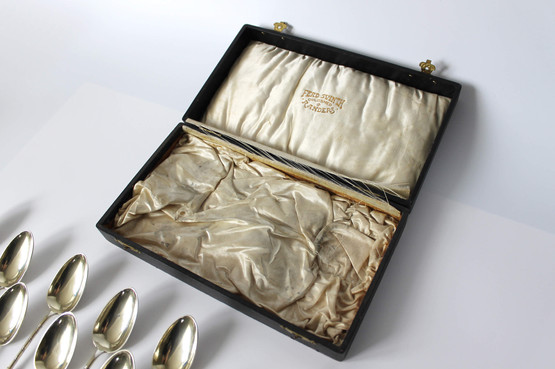 russian silver cutlery box antique silk lined