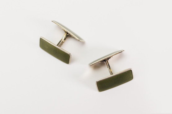 norwegian sterling silver army green enamel cufflinks aksel holmsen gilt mid-century modern rectangular men's accessories