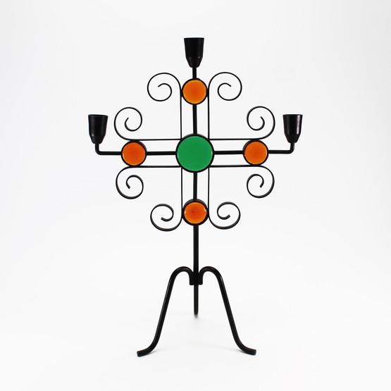 swedish wrought iron candleholder black metal ystad-metall gunner ander curls three arm candelabra glass discs red green