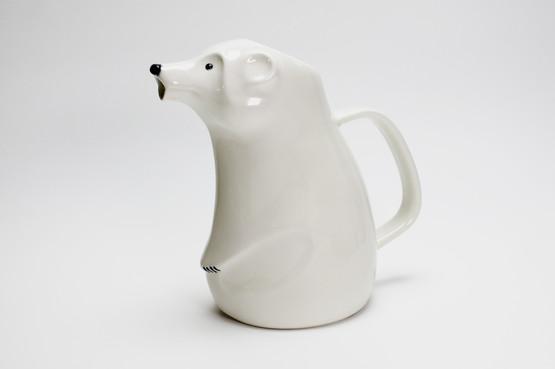 arabia finland contemporary design ceramic polar bear jug pitcher limited edition gold mark richard lindh white animal cute