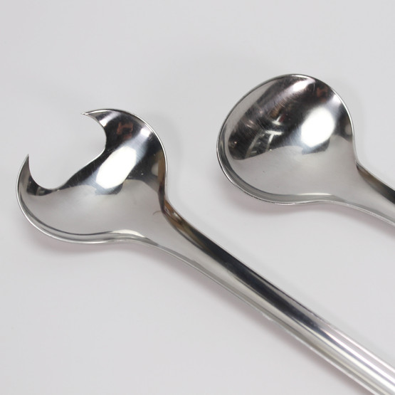 poul frigast stainless steel salad servers cutlery stål bestik frg frg6 rare high quality tactile grip danish design