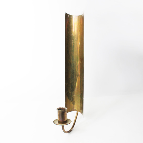swedish skultuna brass wallhanging candleholder with curved shield design by pierre forsell sconce