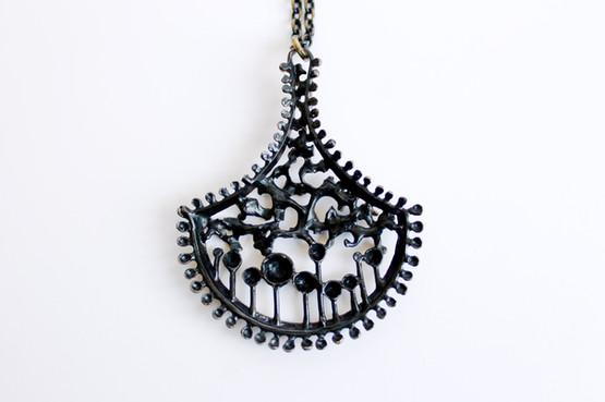 Finnish Modernist Bronze Necklace by Hannu Ikonen in Organic Half-moon Design