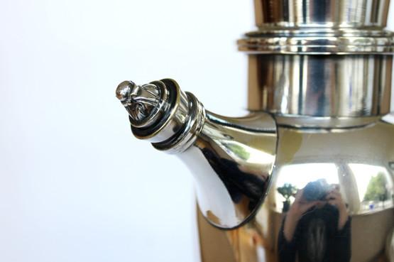 danish antique art deco silver cocktail shaker drink party jug handle pouring spout