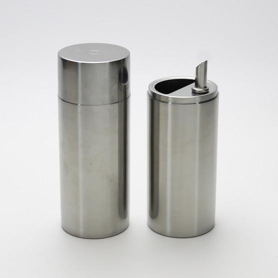 rare danish design stelton arne jacobsen cylinda line stainless steel cruet set oil vinegar mid-century modern minimalist