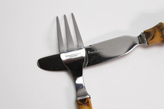 Kay Bojesen universal steel company bamboo handle cutlery mid-century modern Danish style flatware set forks knives spoons