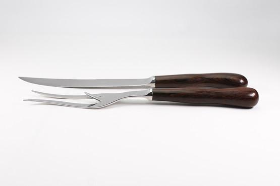 kay bojesen carving set with rosewood handles in box danish mid-century luxury dark wood design illums bolighus fork knife
