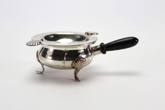 danish silverplated tea strainer holder wooden handle seashell pattern footed stand edwardian 1900s
