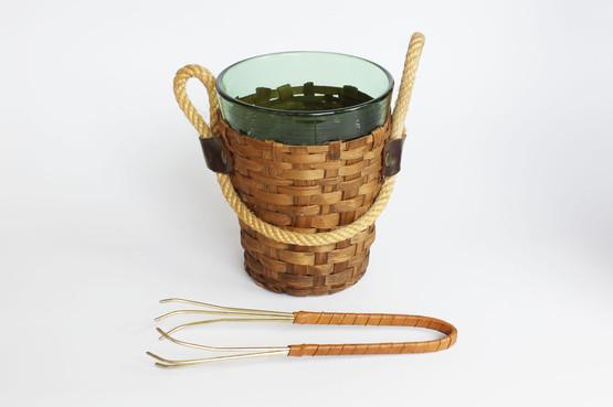 Illums Bolighus 1970s green glass ice bucket rattan rope wicker wrap handle danish design tongs brass aubock barware