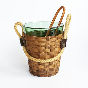 Glass Ice Bucket and Tongs with Rattan Wrap and Rope Handles by Illum's Bolighus