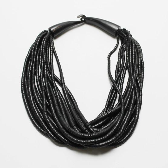 monies gerda lynggaard horn clasp bead necklace 15 strand black danish chunky choker design jewellery