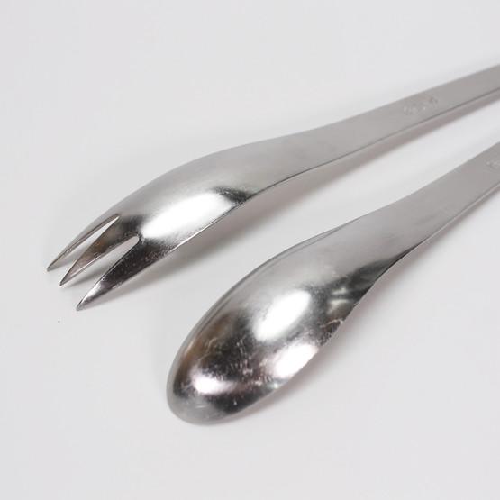 anton michelsen aj arne jacobsen georg jensen danish minimalist salad servers mid-century stainless steel fork spoon set sas