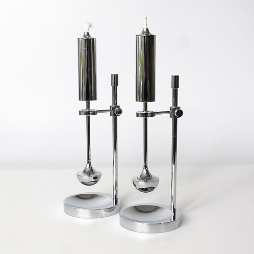 danish design chrome brass candle holder oil lamp pendulum ilse ammonsen high shine gyro ship daproma copenhagen