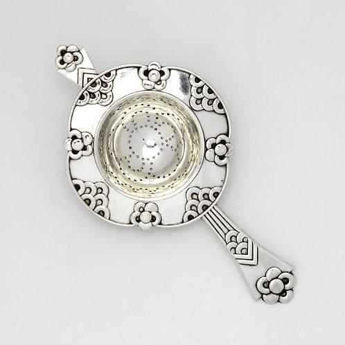 ernst antique danish silver tea strainer art deco royal copenhagen porcelain københavns porcelæn musselmalet sølvbestik lace
