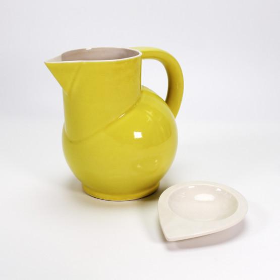helle rittig danish studio ceramics handmade jug pitcher with bowl lid signed bright neon yellow juice summer geometric art