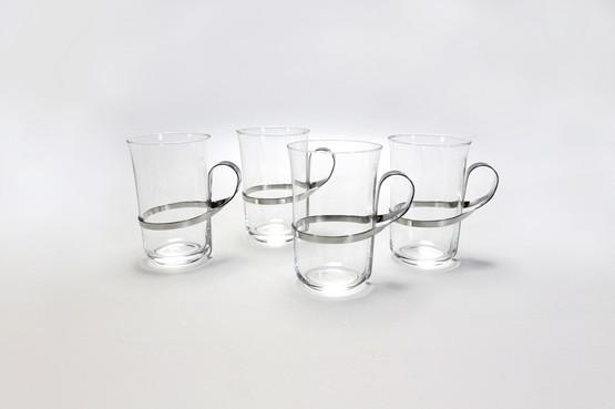 rare iittala thea 2082 hot drink tea coffee glasses handle metal holder vivianna torun bulow hube finnish swedish design mcm