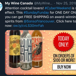 Promo post for Sons of Vancouver's free shipping day.