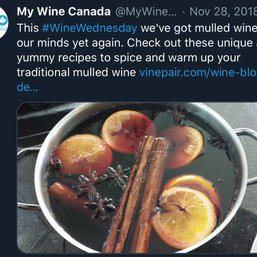 Sharing mulled wine recipes to further establish brand authority.
