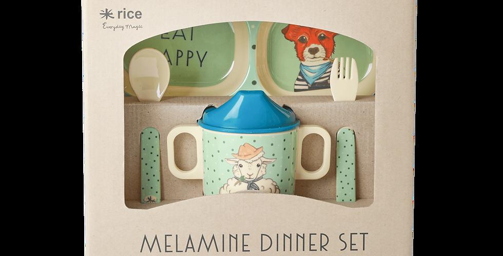 RICE RICE Baby Dinner Geschirr-Set Farm Animals in Geschenkebox