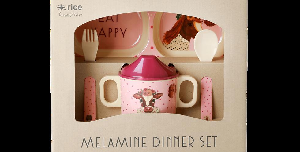 RICE Baby Dinner Set Geschirr-Set Farm Animals