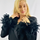 Thumbnail: Kleid Schwarz mit Federärmel