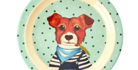 "Rice Melamin Teller ""Farm Animals Hund"""