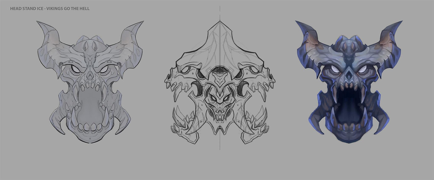 Yggdrassil Giant skull concept drawings