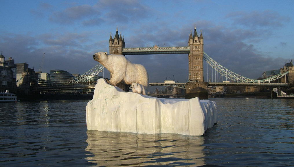 Polar Bear on The Thames with Towerbridge