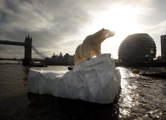Polar Bear on The Thames with City Hall