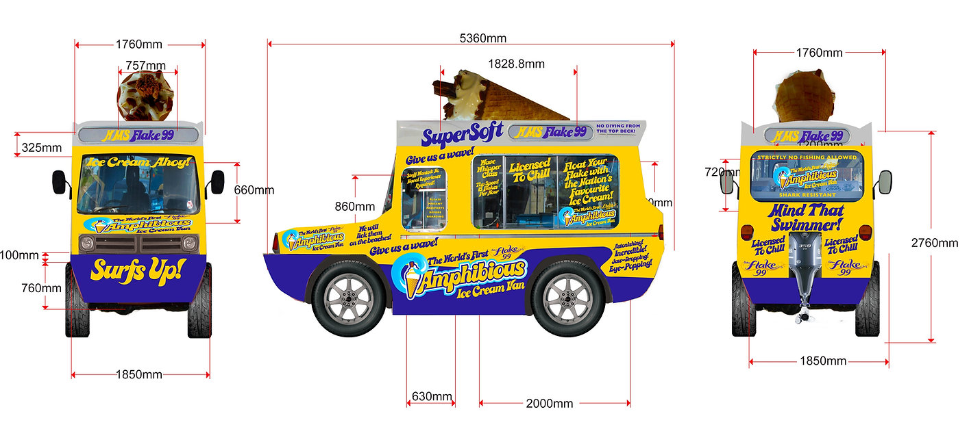 Cadbury amphibious ice cream van design drawings