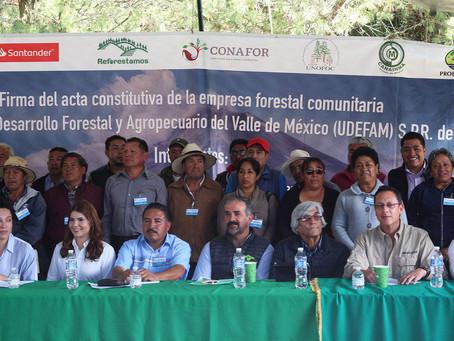 12 comunidades y ejidos del oriente del Valle de México se unen en empresa forestal comunitaria