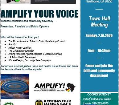 Town Hall in Hawthorne, California AMPLIFY Your Voice!