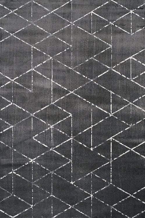 Amell Black Cream Geometric 5x8 Rug