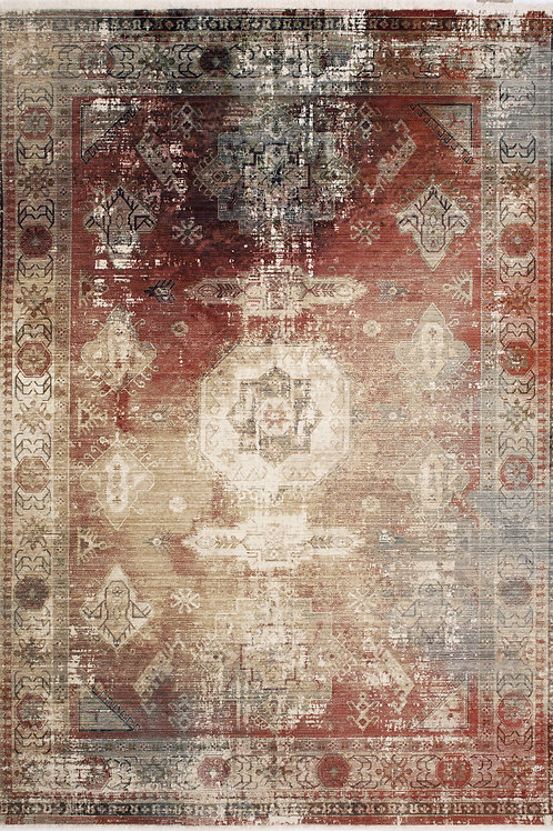 Union Red Distressed Traditional 5x8 Rug