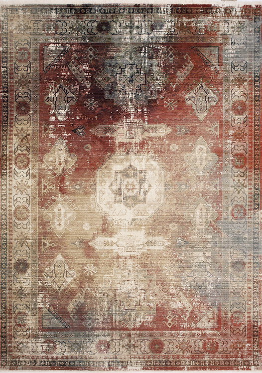 Union Red Distressed Traditional 8x11 Rug