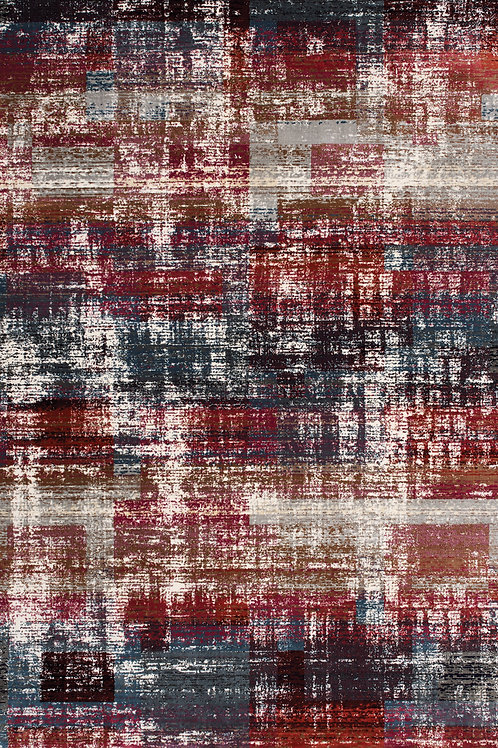 Terrance Red Blue Distressed 5x8 Rug