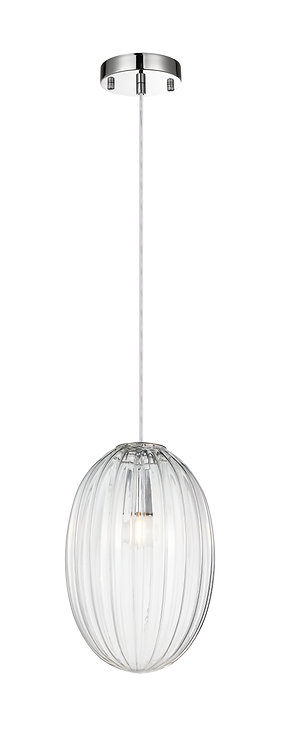 Orion Small Etched Glass Pendant - Clear Glass