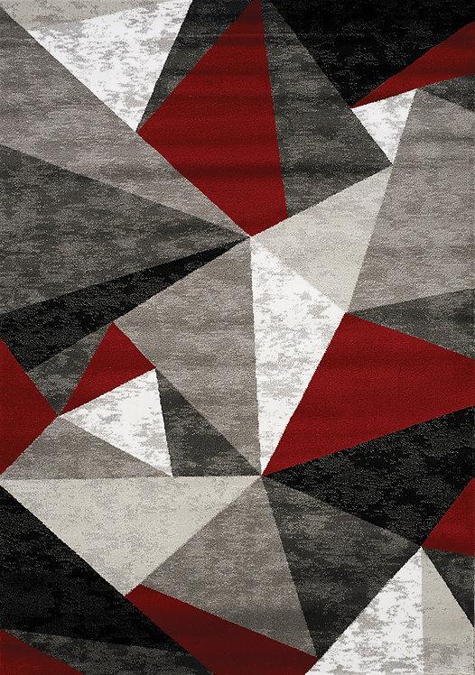 Pike Red/Grey/Black Geometric 3x5 Rug