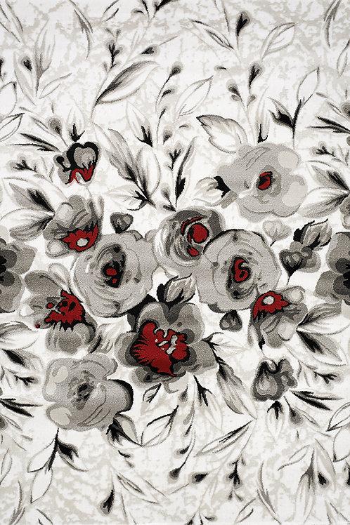Peyton White Grey Floral Door Mat