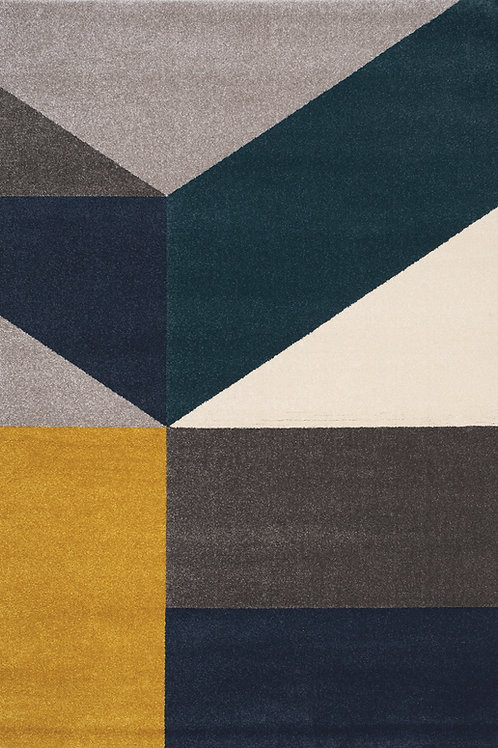 Siena Grey Blue Large Geometry 8x11 Rug
