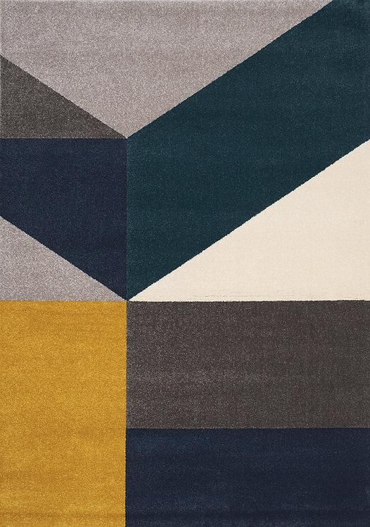 Siena Grey Blue Large Geometry 5x8 Rug